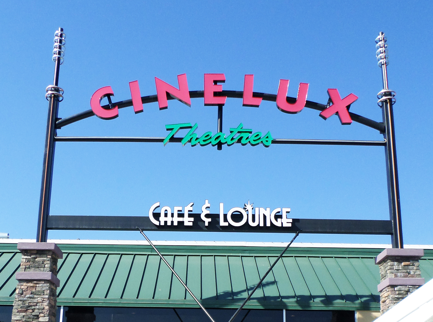 Channel letter sign for Cinelux Theaters