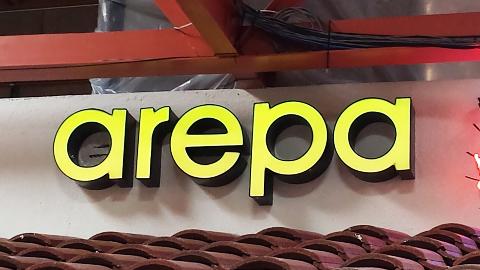 Channel letter signage for Arepa, San Jose