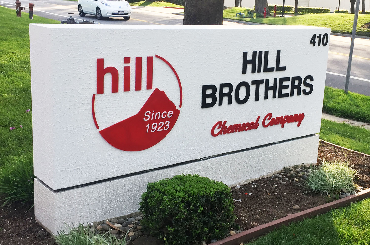 Monument sign for Hill Brothers, San Jose CA