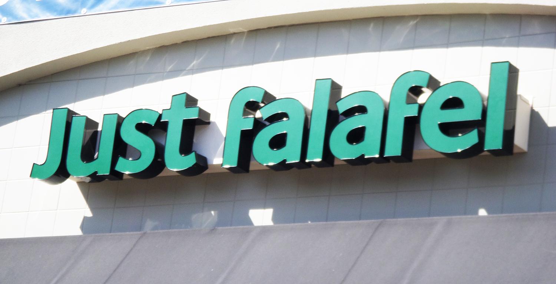 Channel letter sign for Just Falafel, Fremont CA