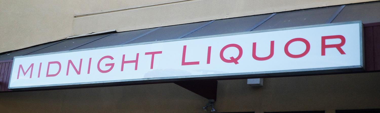 Light Box sign for Midnight Liquor