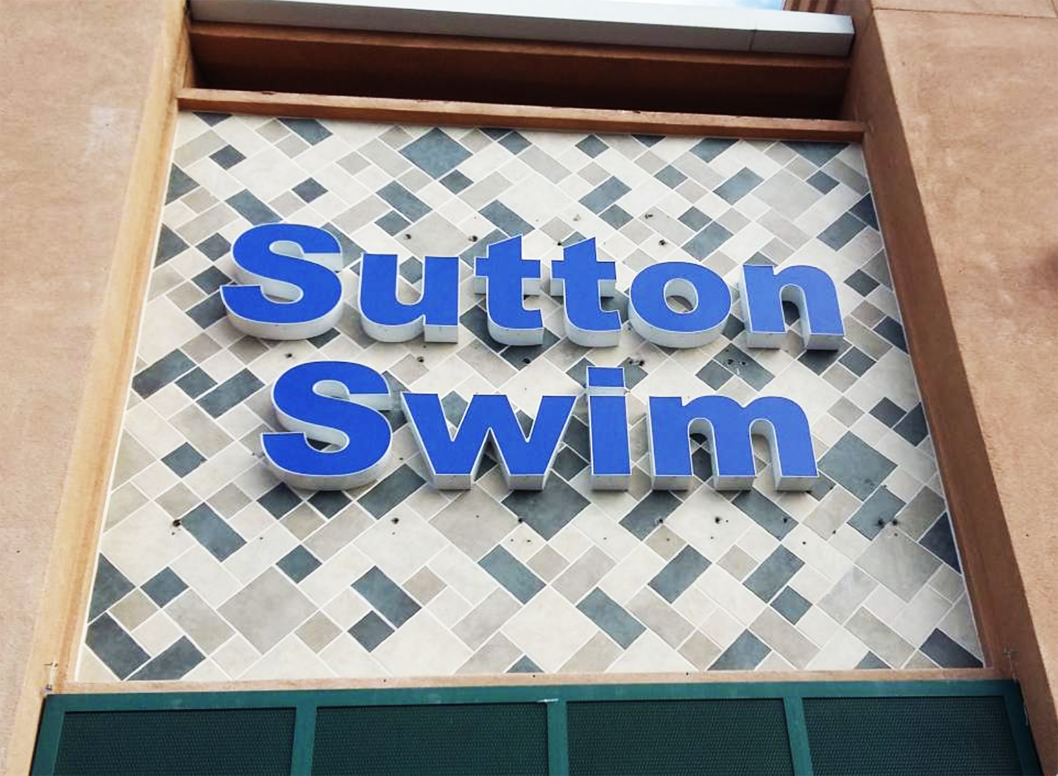Channel letter signage for Sutton Swim, Campbell CA