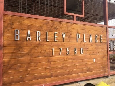 Dimensional letter signage, Barley Place Morgan Hill
