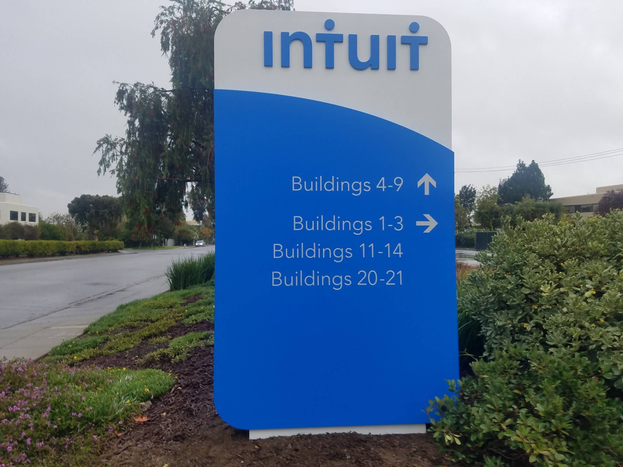 Newly fabricated Intuit monument sign, installed in Mountain View, CA