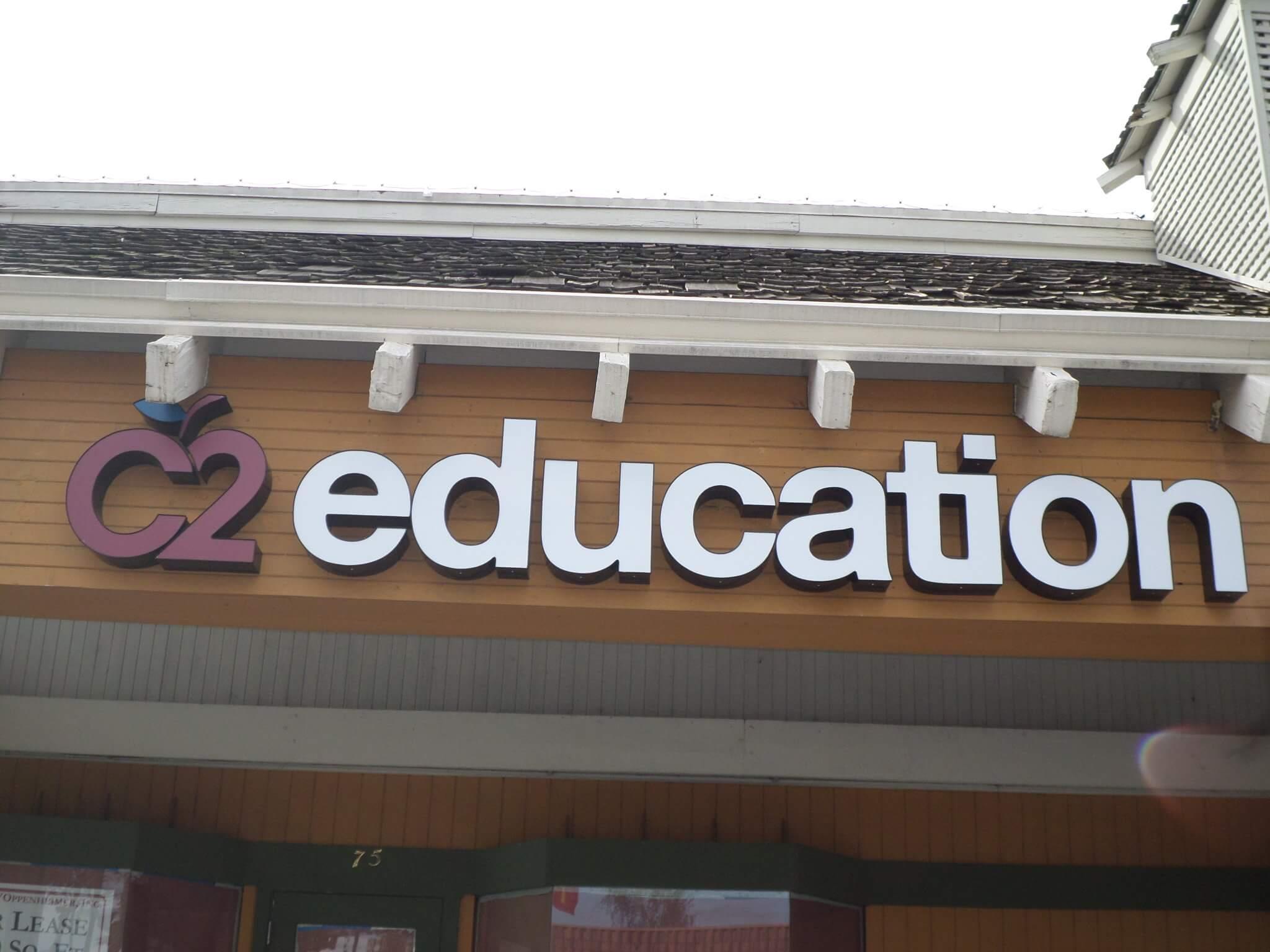 Font (face) lit Channel Letter signage for C2 Education Milpitas, CA