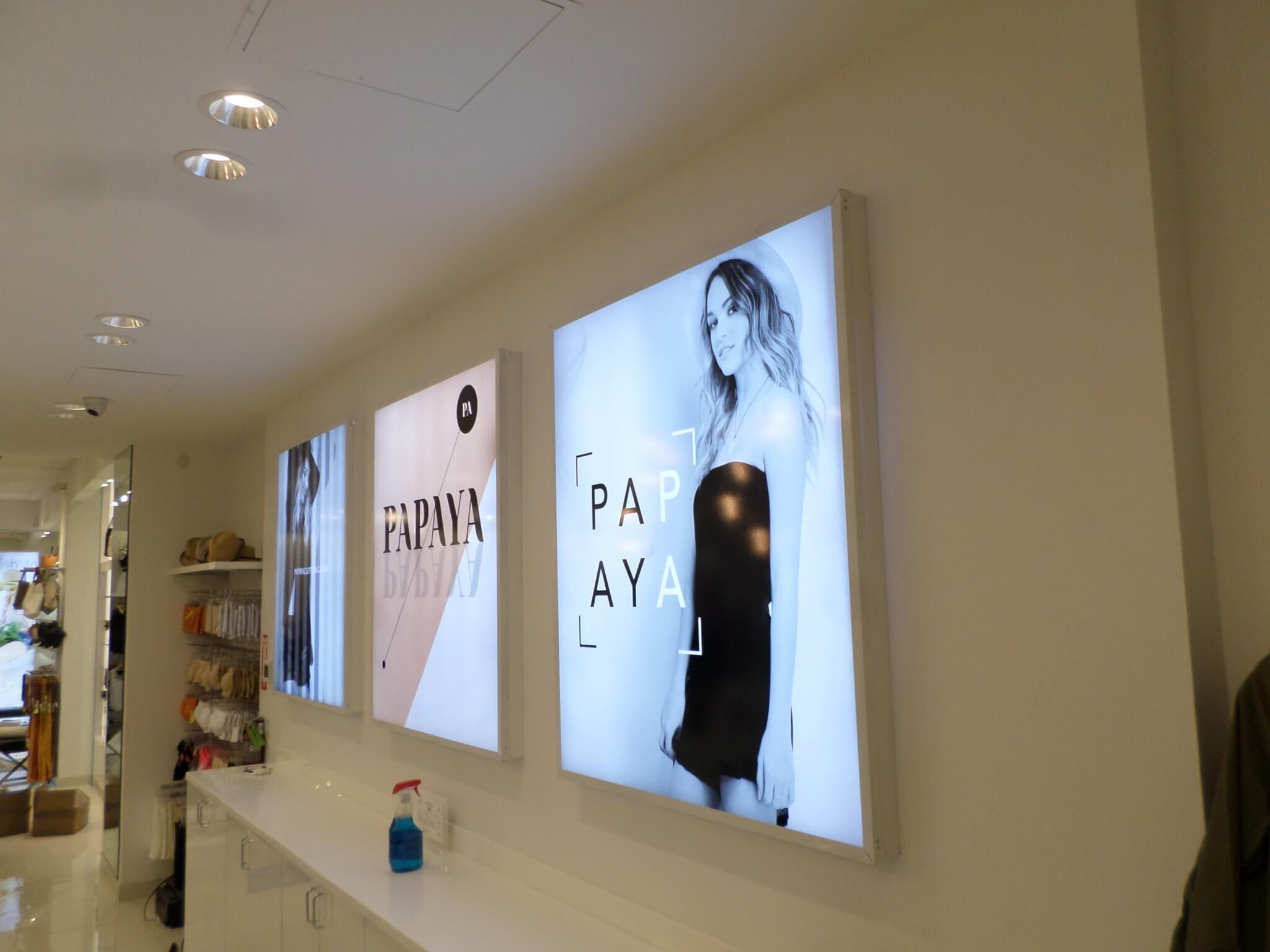Papaya Clothing light box signs, installed in the Westfield Oakridge Mall, San Jose
